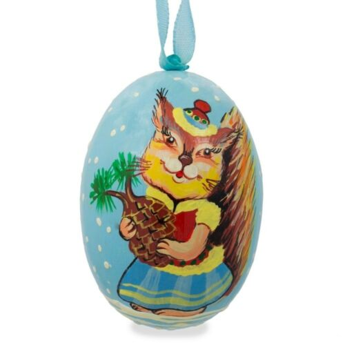 Squirrel Lady with Hat Animal Wooden Christmas Ornament 3 Inches