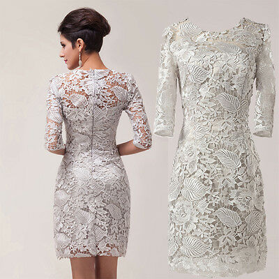 Light Grey Half Sleeves Lace Formal Mother of the Bride Gowns Prom Evening Dress