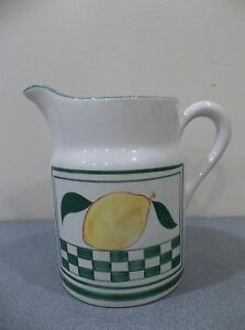 VINTAGE-LEMONADE-WATER-PITCHER-LORD-amp-TAYLOR-ITALIAN-ITALY-GREEN-YELLOW-POTTERY
