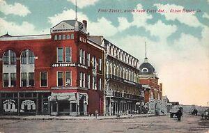 Postcard-First-Street-North-from-First-Avenue-in-Cedar-Rapids-Iowa-109714