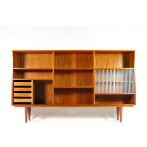 Retro-Vintage-Danish-Modern-Huge-Teak-Bookcase-Book-Wall-Unit-Cabinet-60s-70s