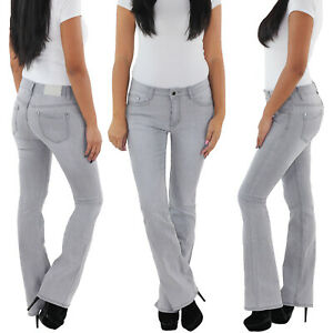 SOTALA Jeans Bootcut Schlaghose Damen Stretchhose Flared Damenhose Hose Grau