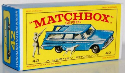 Matchbox Lesney No 42  STUDEBAKER LARK WAGONAIRE style E Repro empty Box