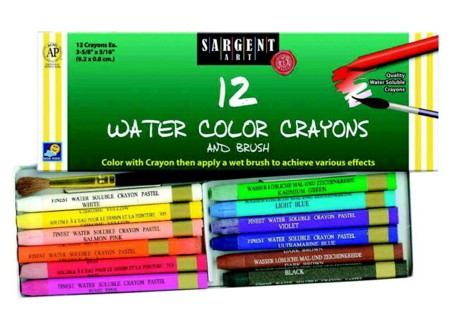Sargent Art Watercolor Crayon Set, Assorted Colors, Set of 12