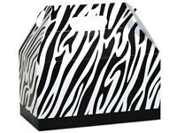 6ct. Black & White Zebra Print Gable Gift Boxes Tote Containers 9-1/2 X 5 X 5