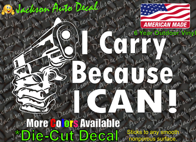 Carry because i can CCW Gun Rights 2A NRA Vinyl Car Window Laptop Decal Sticker
