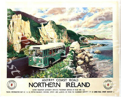 Vintage Antrim Coast Road Northern Ireland Ulster Transport Poster Print A3//A4