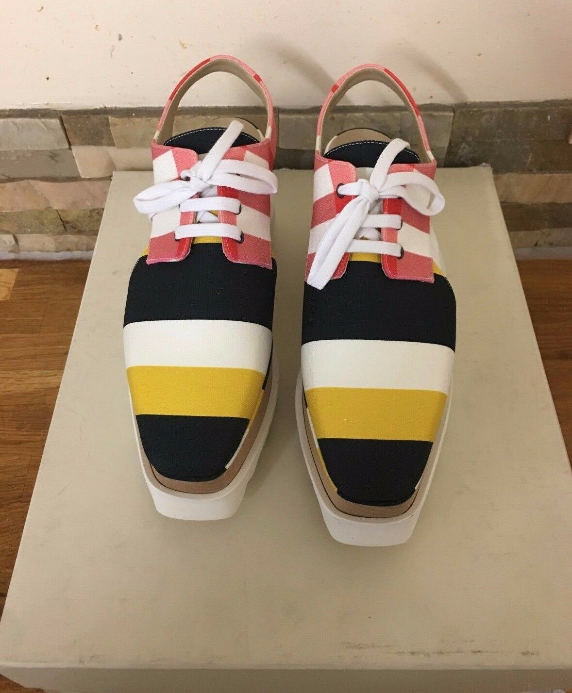 Stella Mccartney Elyse Checked Checked Checked Lace-Up Cut-Out Platform schuhe UK 3 EU 36 670bd8