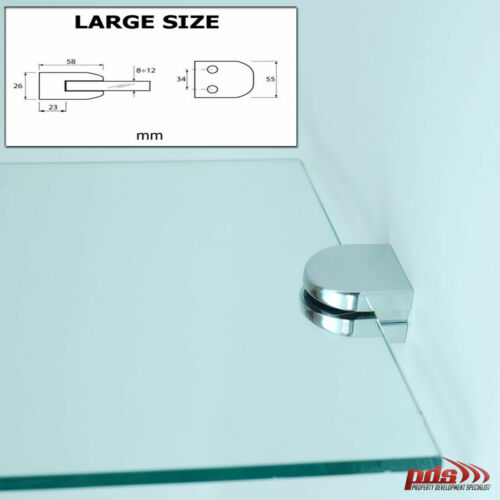 GLASS CLAMP FOR BALUSTRADE HANDRAIL STAINLESS STEEL BRACKET HEAVY DUTY 8-12 mm