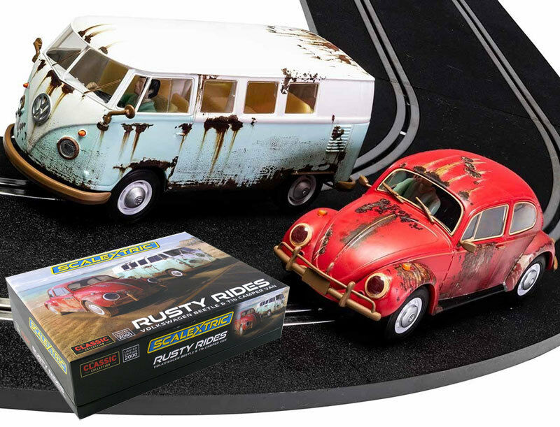 Scalextric C3966A Rusty Rides Volkswagen Beetle T1b Camper Van Slot Car 1 32