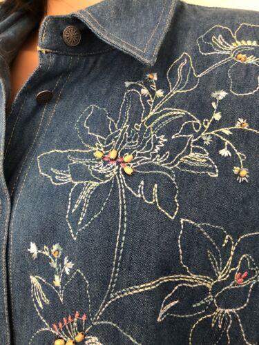 Wome Bestickt Perlen Size Baumwolle Blues Koret Knopfhemd Plus Denim 18w City w1qFvO