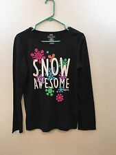 "Girls Justice Size 16/18 Black Pajama Shirt Long Sleeve ""Snow Awesome"" Graphic"