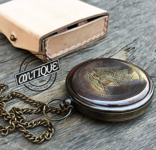 Leather CASE Chain Compass Nautical Pocket Classic Decorative Working Compasses
