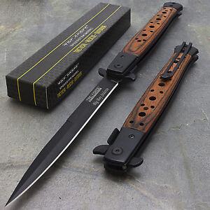 12-5-034-STILETTO-WOOD-TAC-FORCE-SPRING-ASSISTED-FOLDING-KNIFE-Blade-Pocket-Open