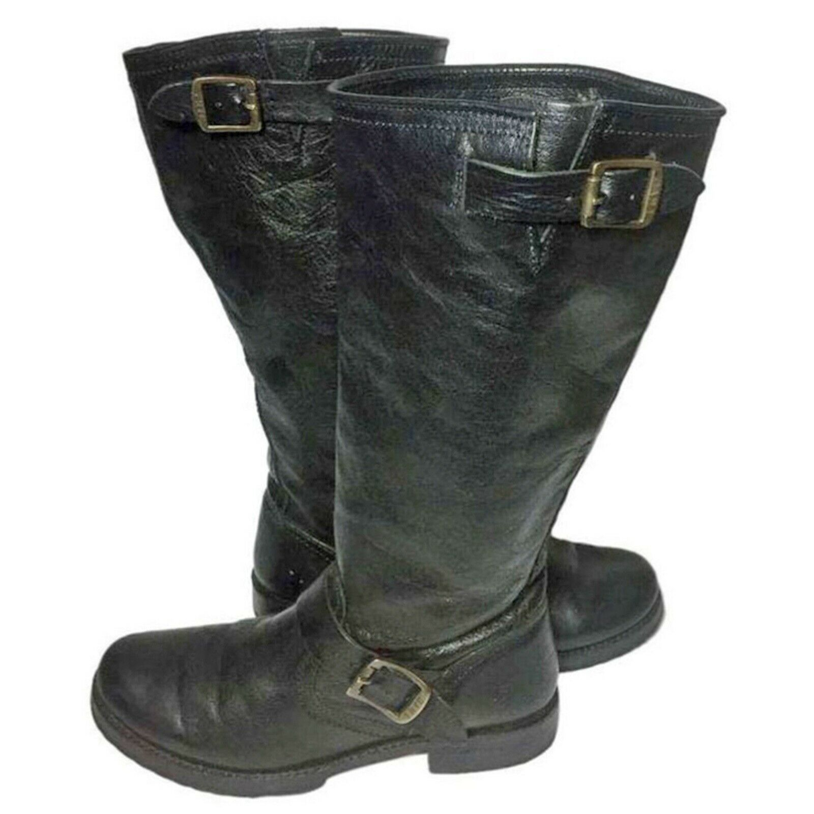 FRYE 77605 Veronica Slouch Black Leather Motorcycle Boots Women's Size 8