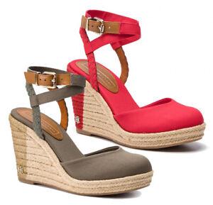 TOMMY-HILFIGER-WEDGE-SANDAL-scarpe-sandali-donna-espadrillas-pelle-tessuto-zeppa