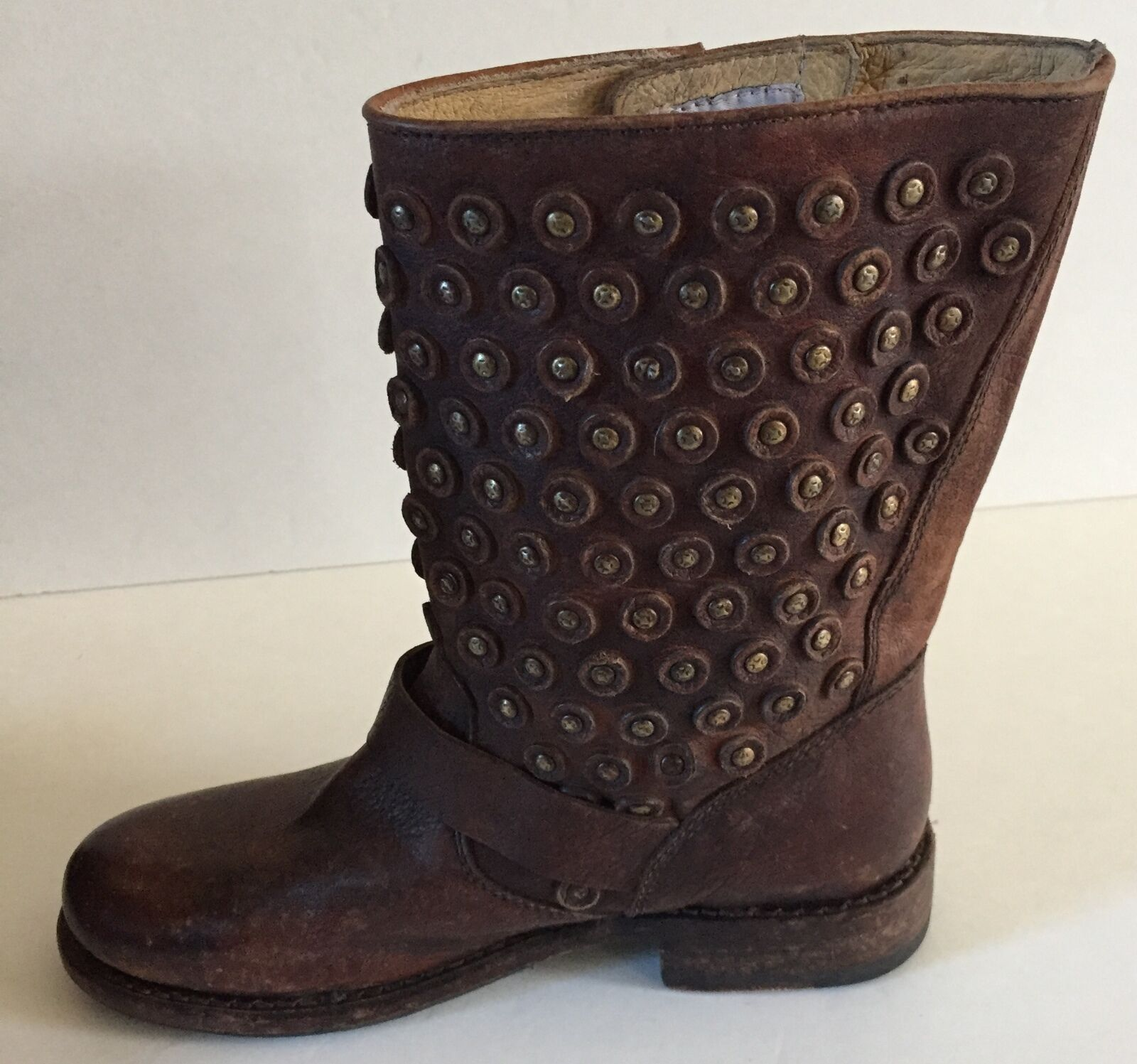 Frye 'Jenna Leather Disc Short' Antiqued Brown Leather 'Jenna Boots size 5.5 4d88cc