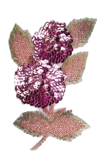Unotrim Pink Floral Sequins Beaded Sew On Applique Flower Patch Craft Supplies
