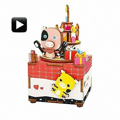 3D Wooden Puzzle Happy Birthday Crank Music Box Robotic Robotime Jigsaw DIY Wood