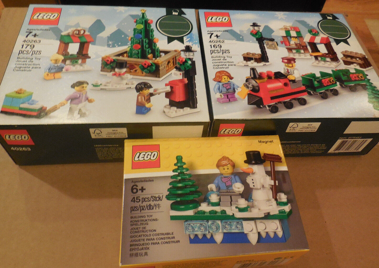 3-Lego Holiday Christmas Sets 40262 40263 & 853663 Nuovo in Sealed Boxes