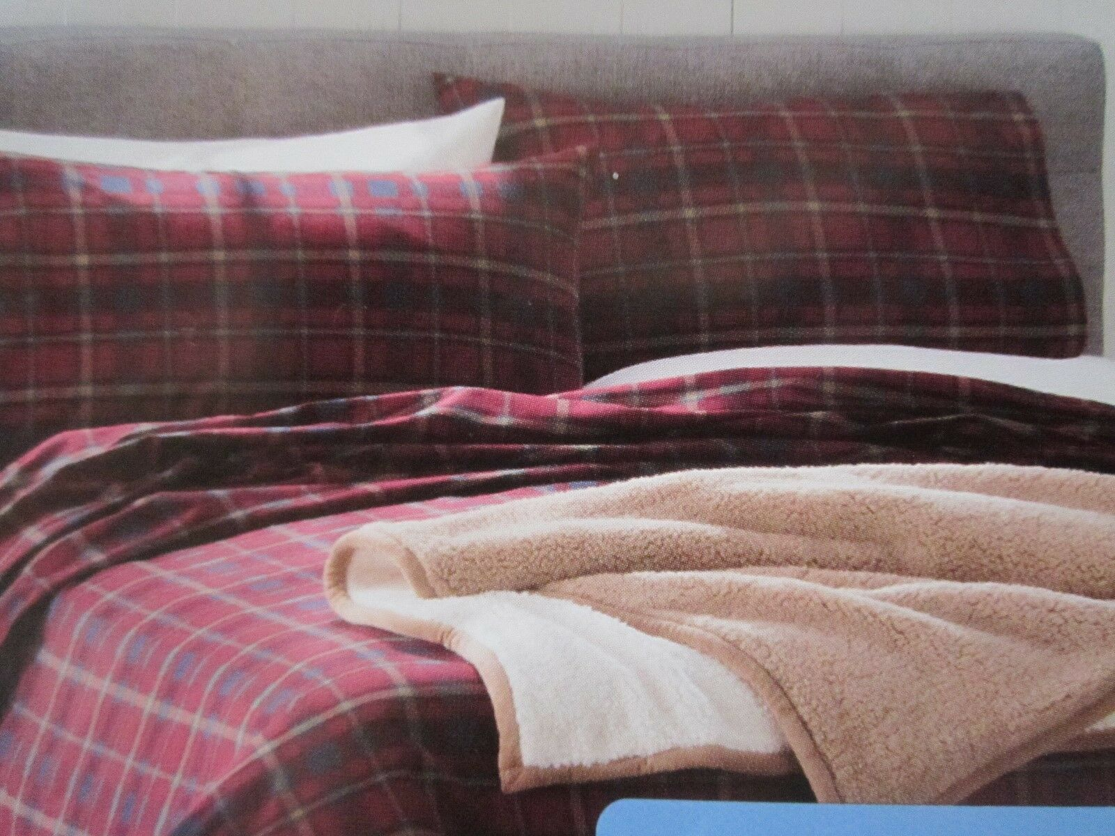 CUDDL CUDDL CUDDL DUDS FLANNEL FULL Größe SHEET SET rot Blau PLAID HEAVYWEIGHT NIB 92c024