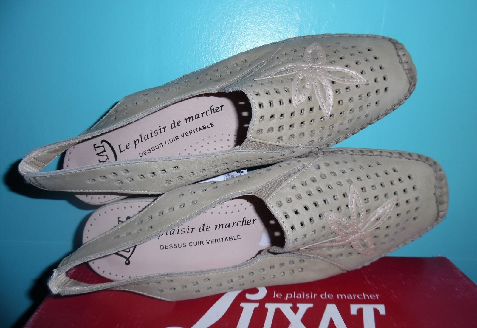 Moccasins luxat dossiero model size 41 beige leather new flexibility, comfort