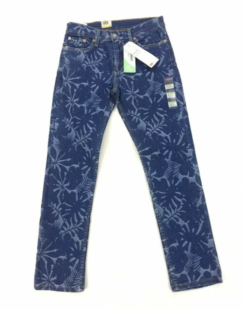 NEW Levi's Strauss 511 Slim Flex Stretch Palm Print Dark Blue Mens Denim Jeans