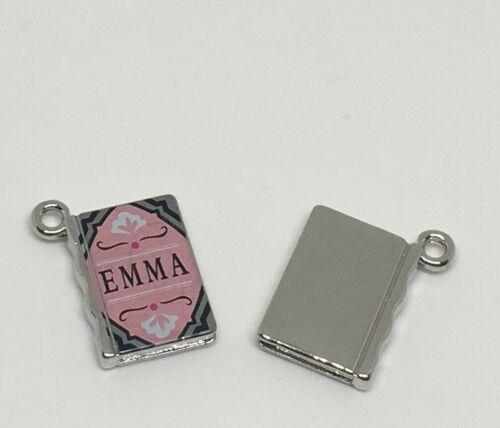 3 ~  HIGH QUALITY ENAMEL AUSTEN BOOK CHARMS EMMA jewelry Bracelet