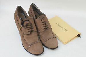 Louis Vuitton Damen Braun Wildleder Hoher Absatz Brogue Detail Schuh Stiefel uk6.5 eu39.5