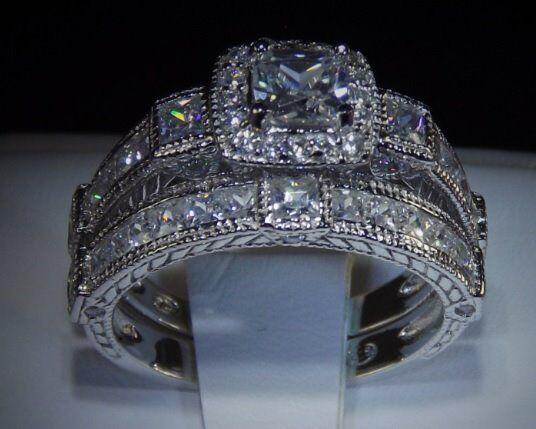 3.4C PRINCESS CUT DIAMOND 925 14K WHITE GOLD ENGAGEMENT WEDDING RING SET SZ 6
