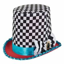 Mad Hatter Chequered Top Hat Fancy Dress Costume Tea Party Alice In Wonderland