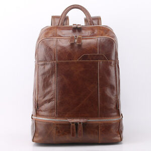 Men-Genuine-Leather-Travel-Backpack-School-Bags-Laptop-Book-bag-Day-Packs-Brown