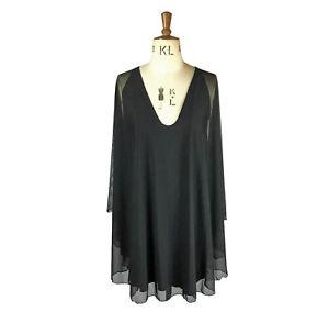 Baylis-amp-Knight-Sheer-Black-plunge-neck-STUDIO-54-Glam-70-039-s-DISCO-Dress