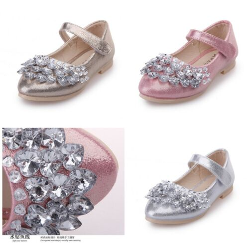 Child Kid Girl Princess Shoes Diamond Glitter Ballet Party Dress Flat Heels Shoe