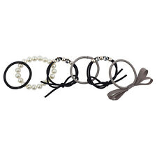 Lux Accessories Grey Black Pearl Assorted Ponytail Elastic Hair Tie Set 6 Pcs