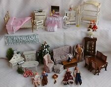 Large Lot Dollhouse Miniature Furniture Accessories 5 Rooms  + more! 36 Pieces!