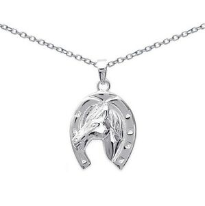 PENDENTIF-Fer-a-CHEVAL-Cheval-ARGENT-NEUF-CHAINE