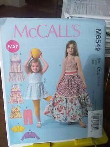 Oop-Mccalls-Easy-6549-girls-summer-sundresses-halter-bolero-leggings-sz-3-6-NEW