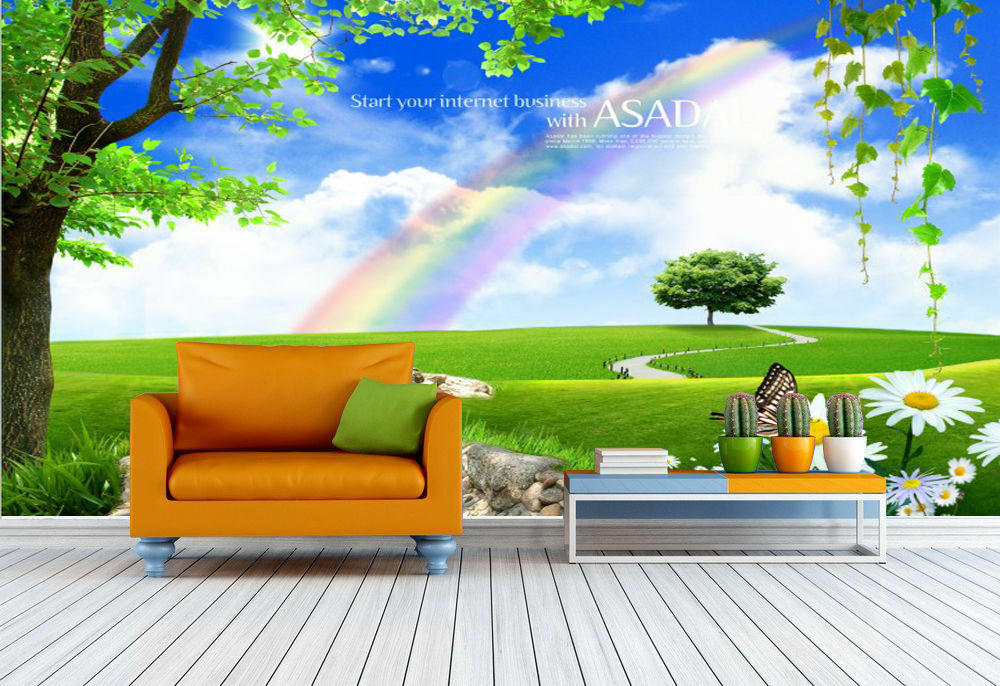 3D Lawn River Rainbow 456 Wall Paper Print Decal Wall Deco Indoor wall Mural