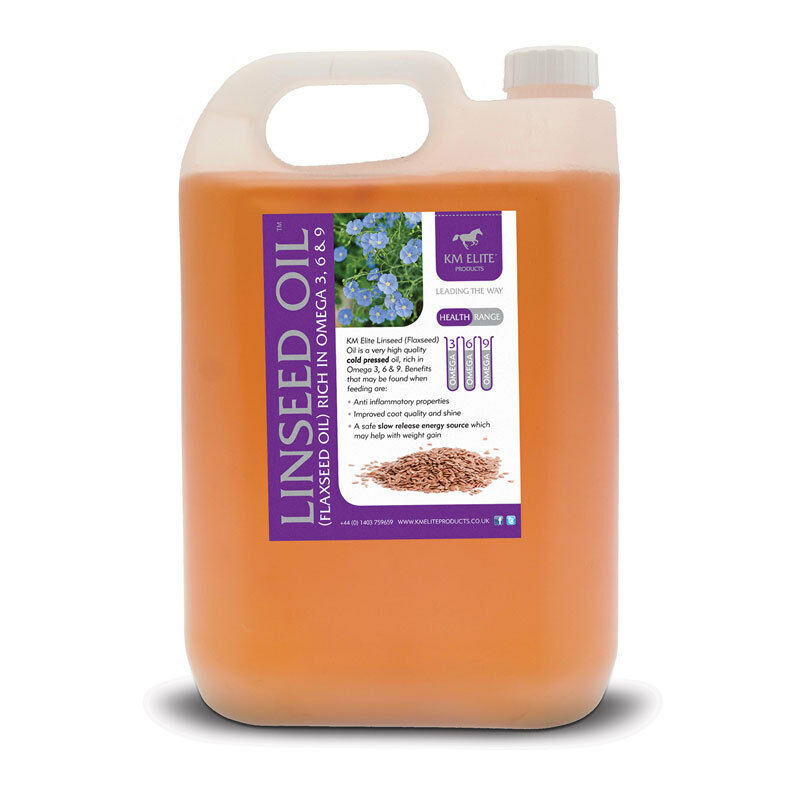 KM ELITE FLAXSEED LINSEED OIL 5 LITRE  HORSE PONY - HEALTHY SHINE SLOW ENERGY  quality product