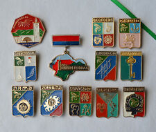 Crimea City USSR Badge Lot of 12 Soviet Ukrainian town coat arms pins vintage