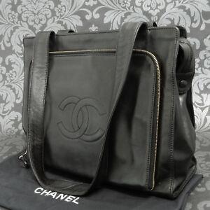 ff7f8aff7224 Details about Rise-on Vintage CHANEL Lamb Skin Leather Black Shoulder Bag  Tote Bag  1834