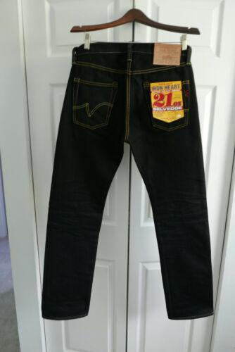 Mens Iron Heart 21oz Black Selvedge Jeans (32 x 31