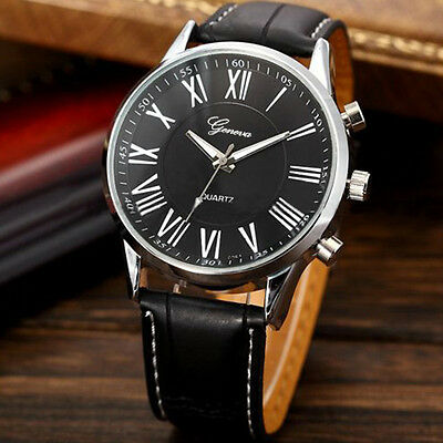 New Trendy Roman Dial Men Leather Black Analog Quartz Sport Wrist Watch