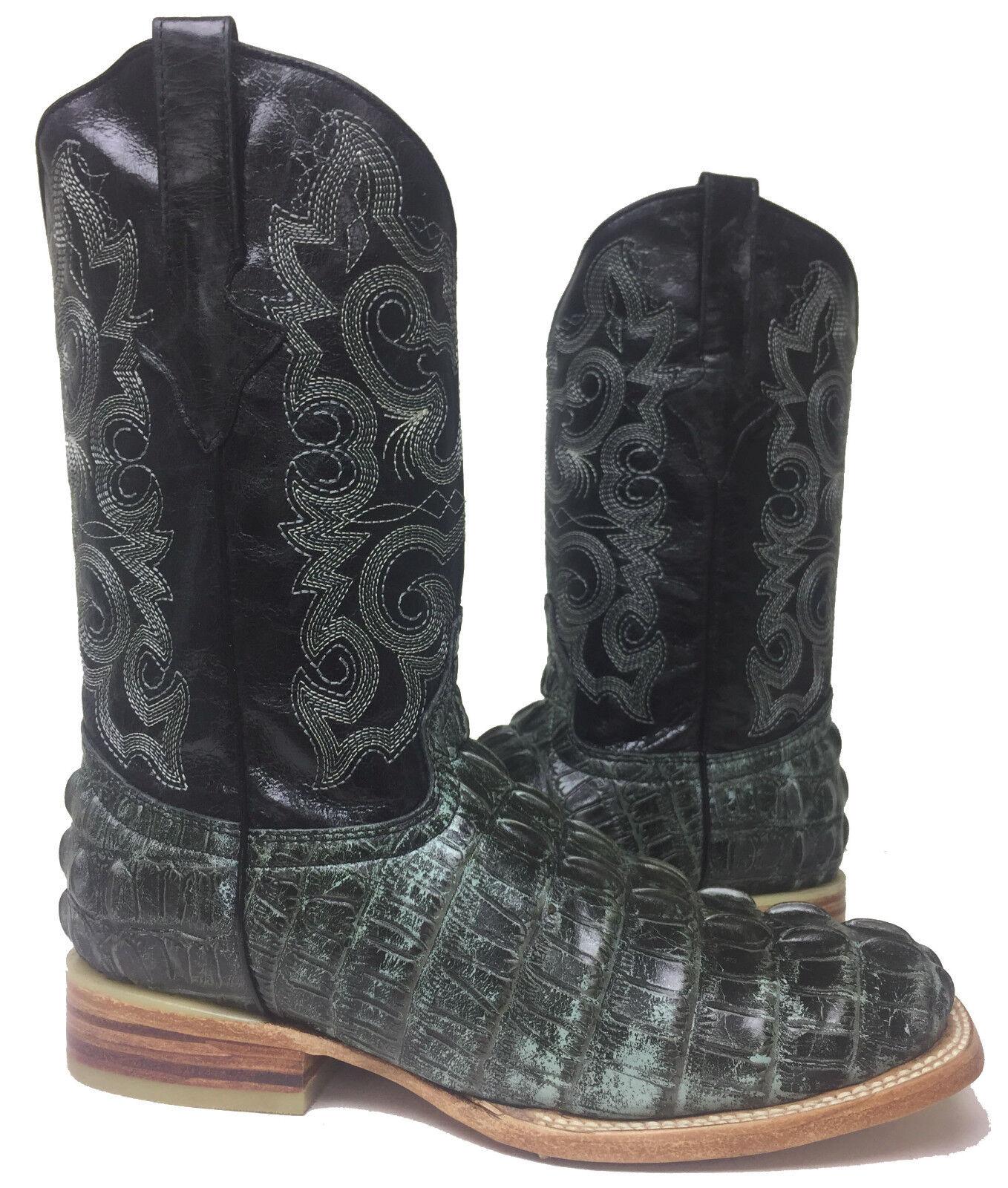 Para hombres Cuero Negro Cocodrilo Cocodrilo Rústico Vaquero Oeste Rodeo botas
