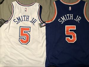 new concept fb662 b3028 Details about Dennis Smith Jr. Nike Swingman Jersey New York Knicks Road  Blue White Home 48,52