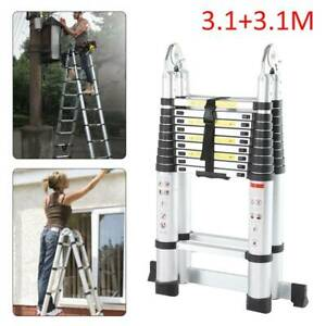 6.2m Telescopic Folding Extendable Extension Ladder Multi Purpose Steps