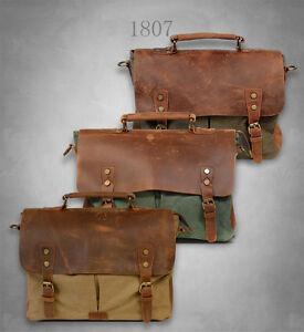 NEW Men s Vintage Canvas Genuine Leather Satchel Shoulder Bag ... 906f1fce1