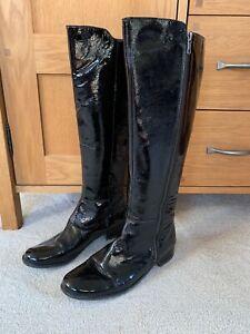 Next Ladies Black Leather Patent Knee