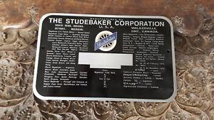Studebaker COLOR Acid Etched Aluminum Data Plate Rectangle